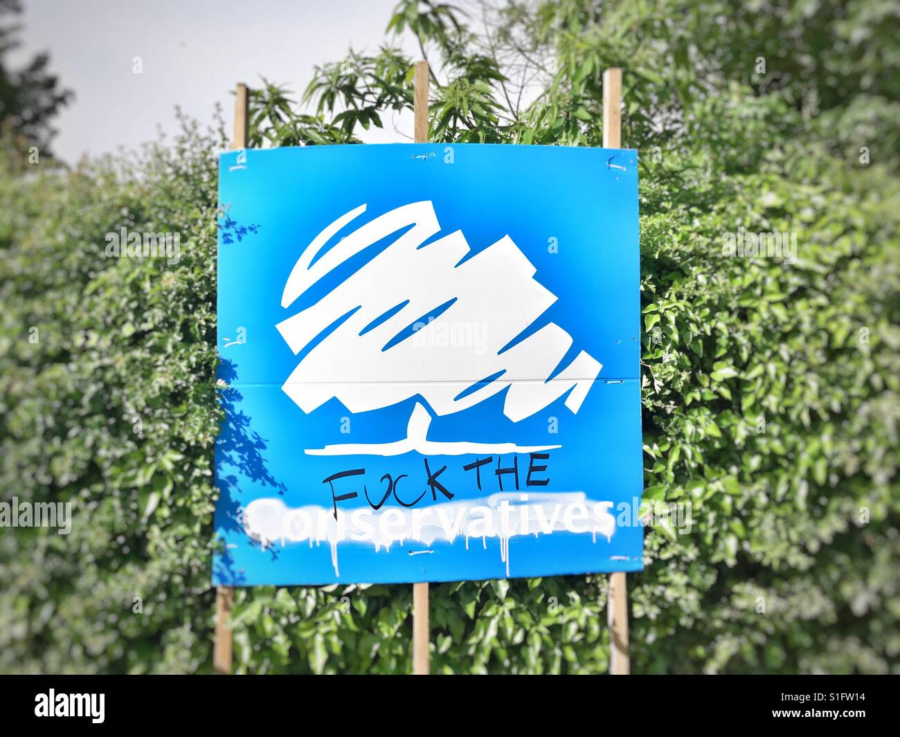 Defaced Conservative Party Placard, Sutton, Suffolk. 22/05/17 - Stock Image