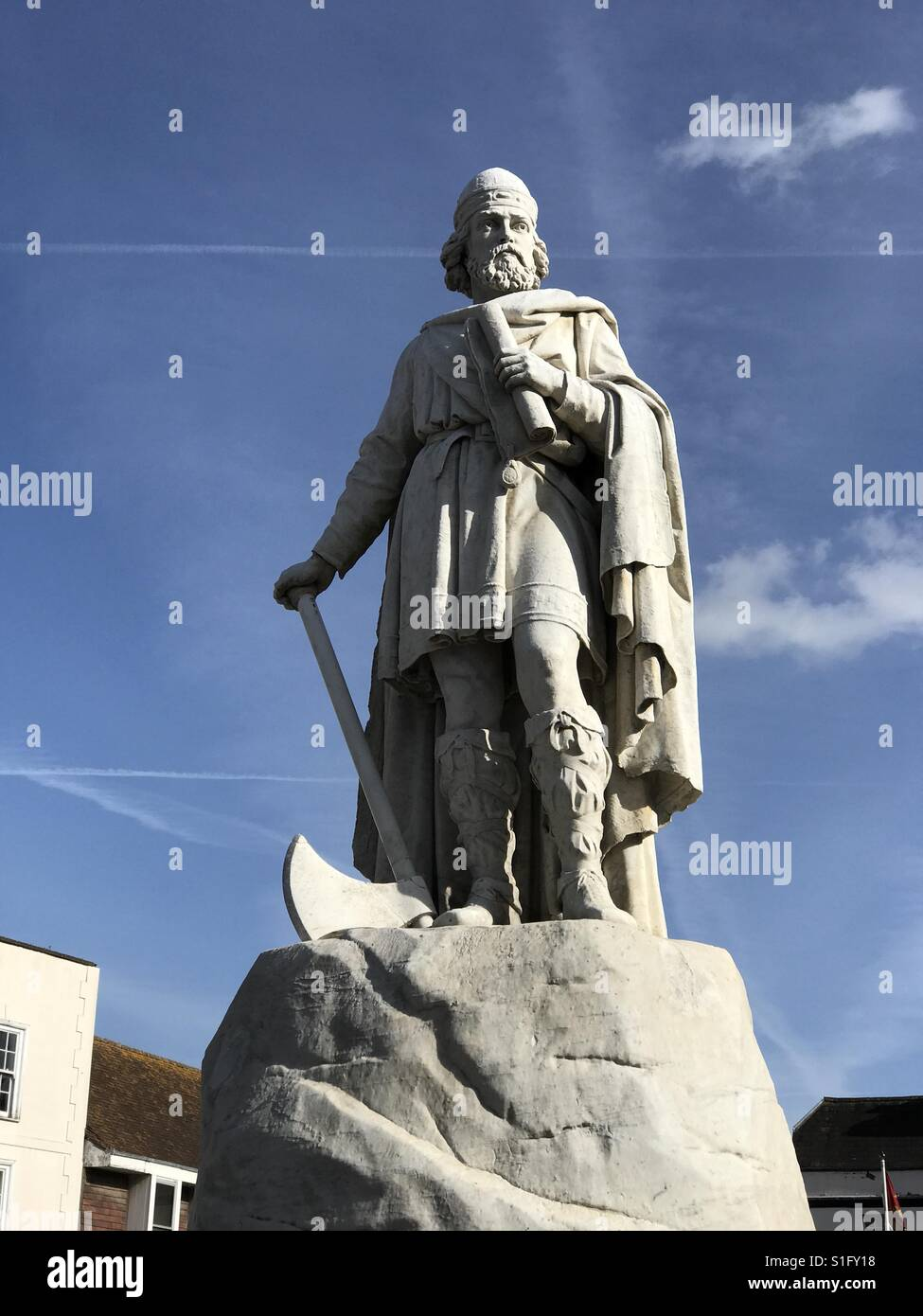 A statue of King Alfred in the market place in Wantage, Oxfordshire, UK. - Stock Image