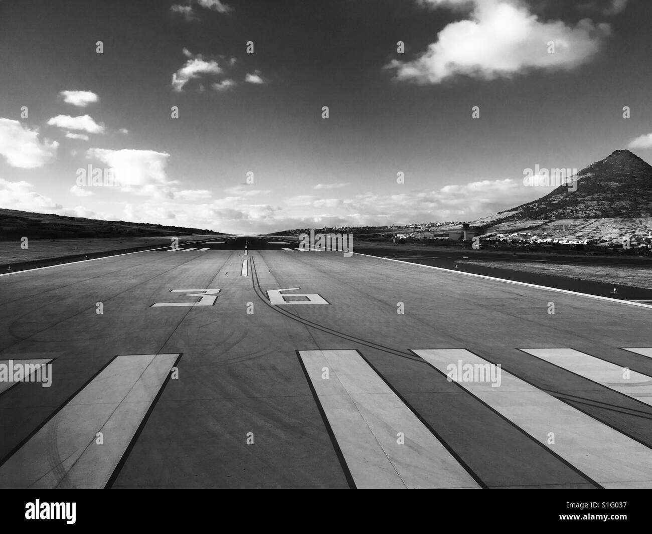 Black and white image of the end of the Porto Santo runway - Stock Image