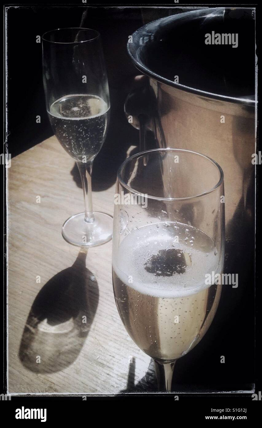 Glasses of Prosecco in a bar, Leeds, UK. - Stock Image