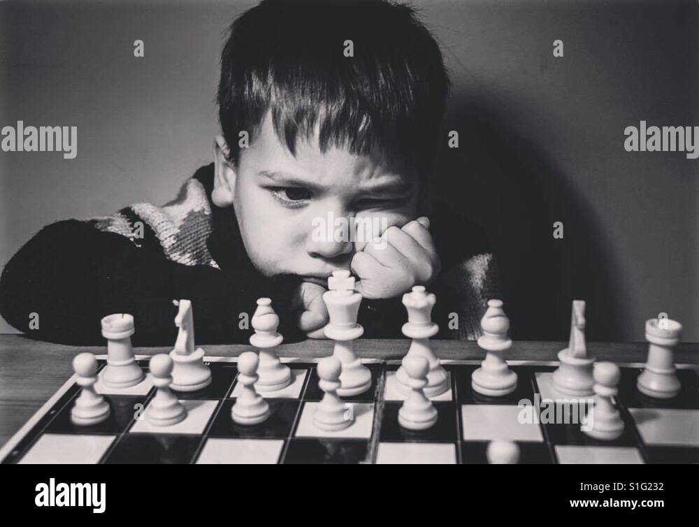 First game of chess Stock Photo