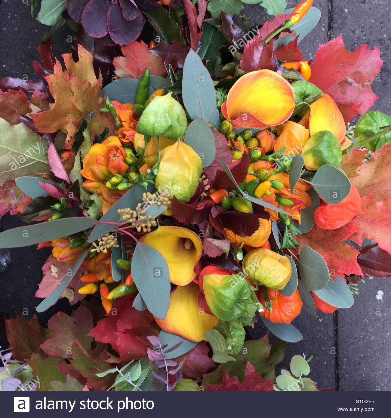 Fall Flower Bouquet From Parisian Market France Stock Photo