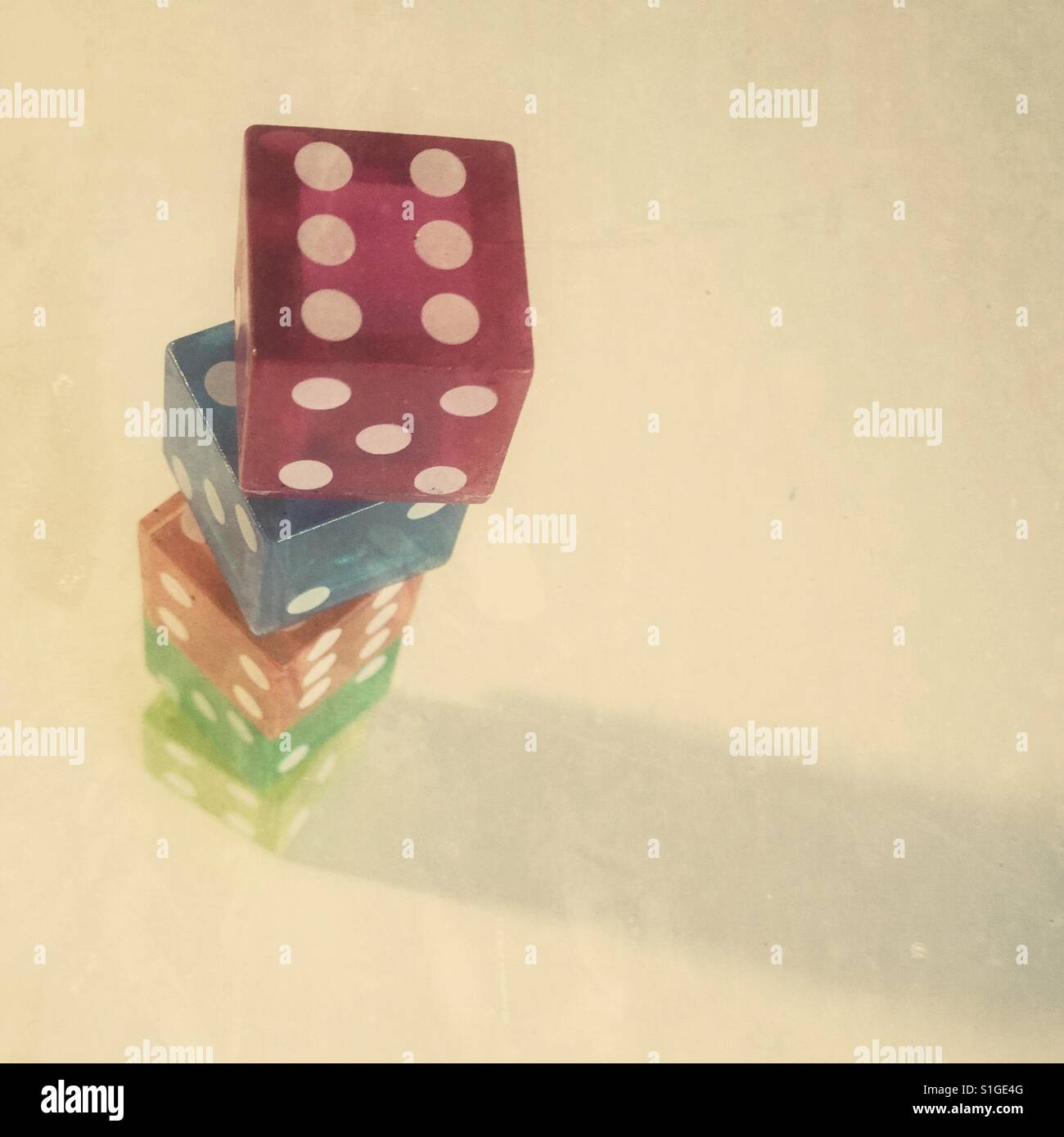 Tower of dice - Stock Image