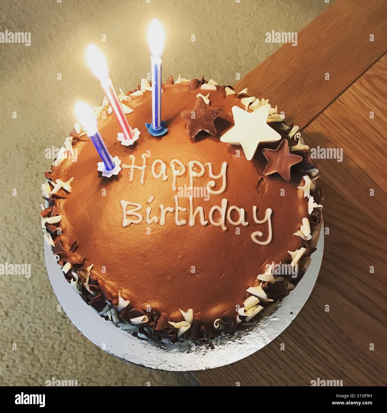 Terrific Happy Birthday Chocolate Cake Stock Photo 310764541 Alamy Funny Birthday Cards Online Fluifree Goldxyz
