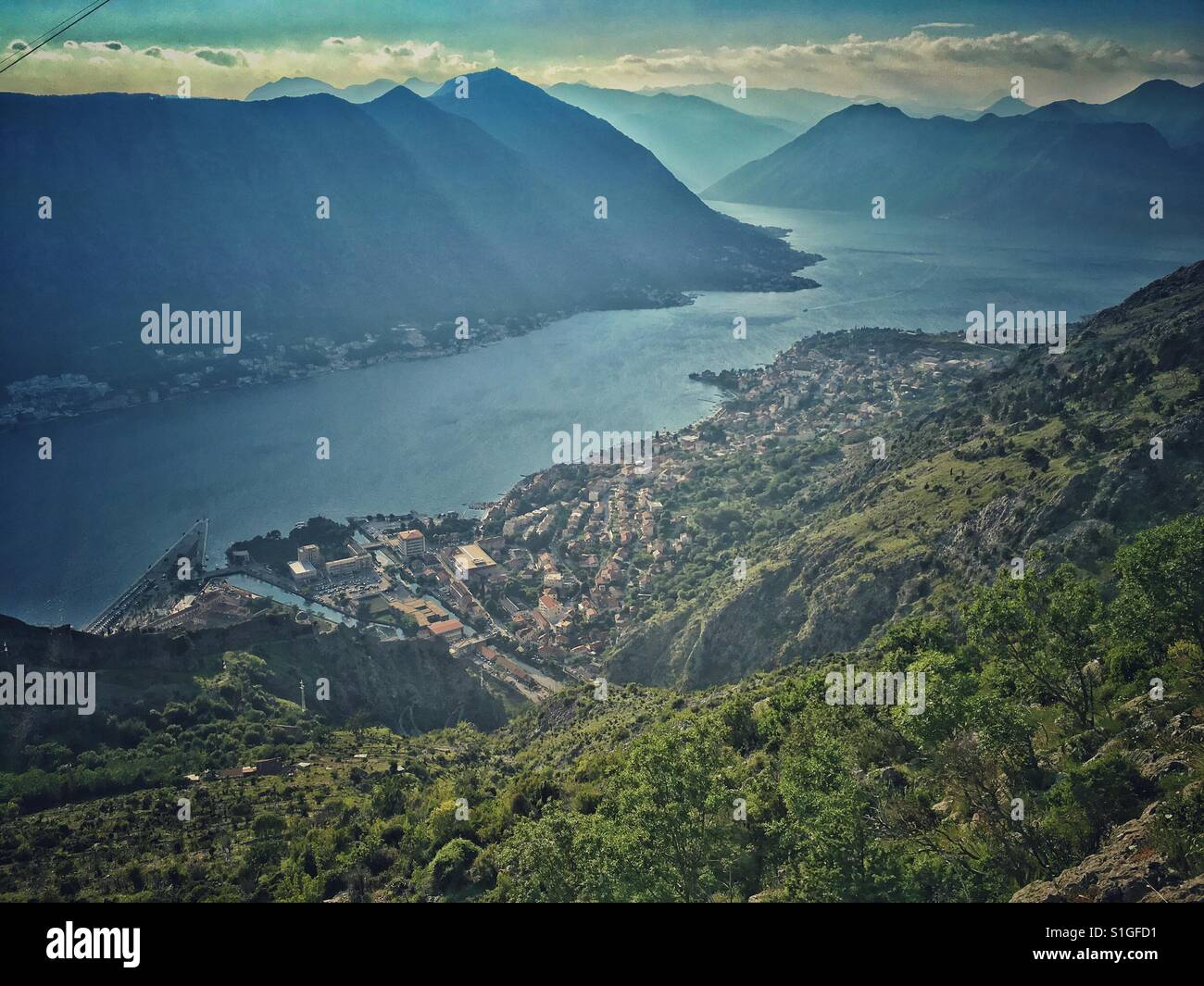 Aerial view on Kotor town in Montenegro Stock Photo