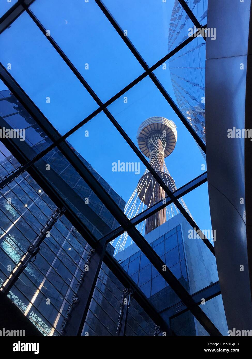 Sydney Tower Eye from Inside Westfield Sydney Shopping Centre - Stock Image