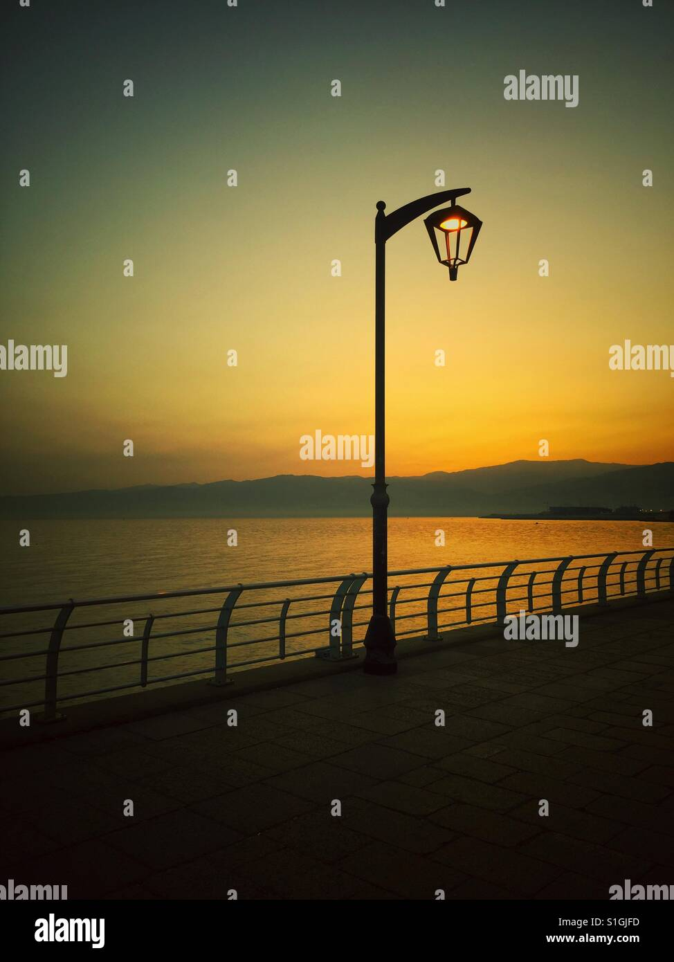 Lamppost at sunrise Beirut Lebanon - Stock Image