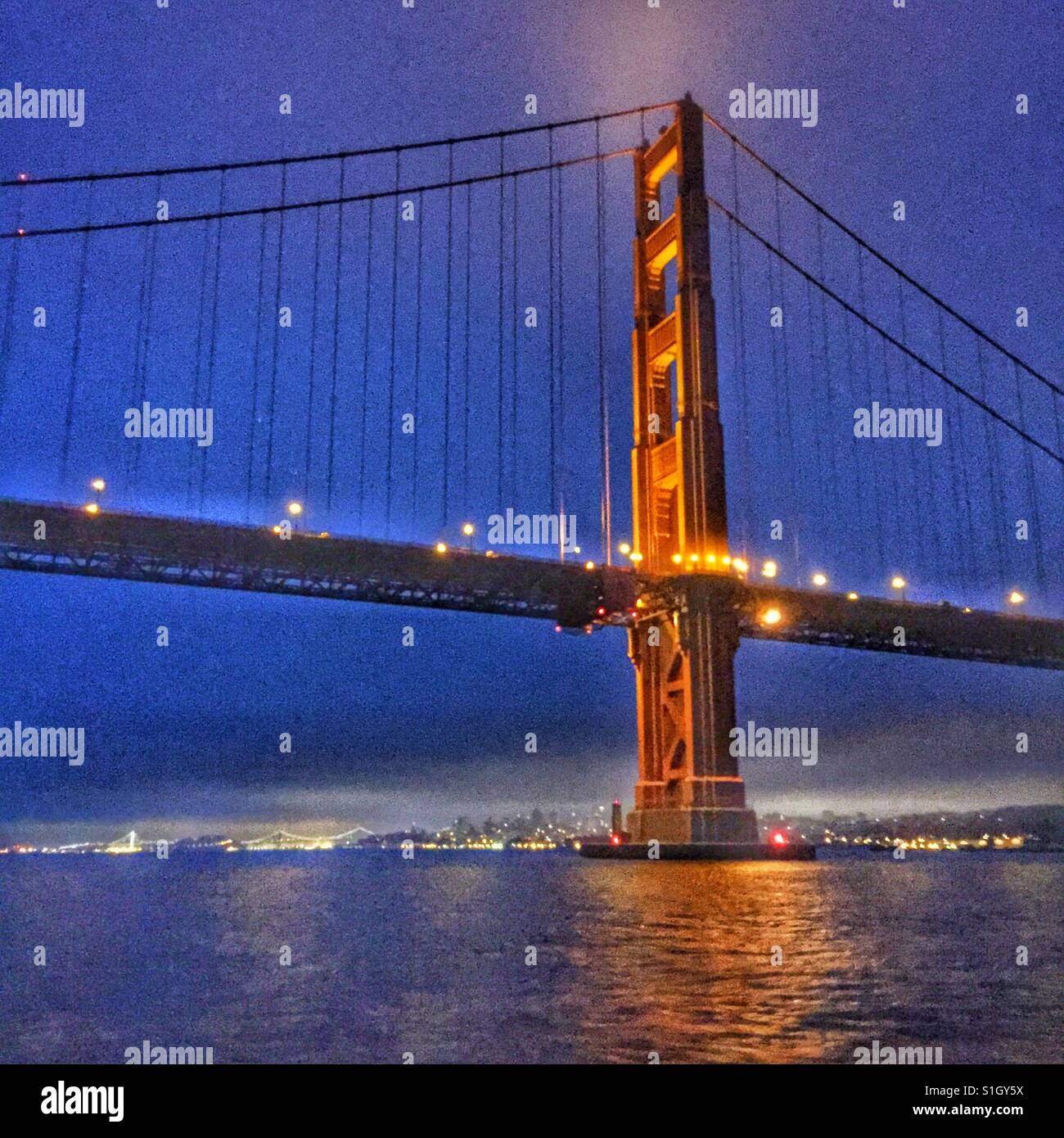Knocking at the Gate. A sailor's view of The Golden Gate Bridge and San Francisco, arriving pre-dawn from the - Stock Image