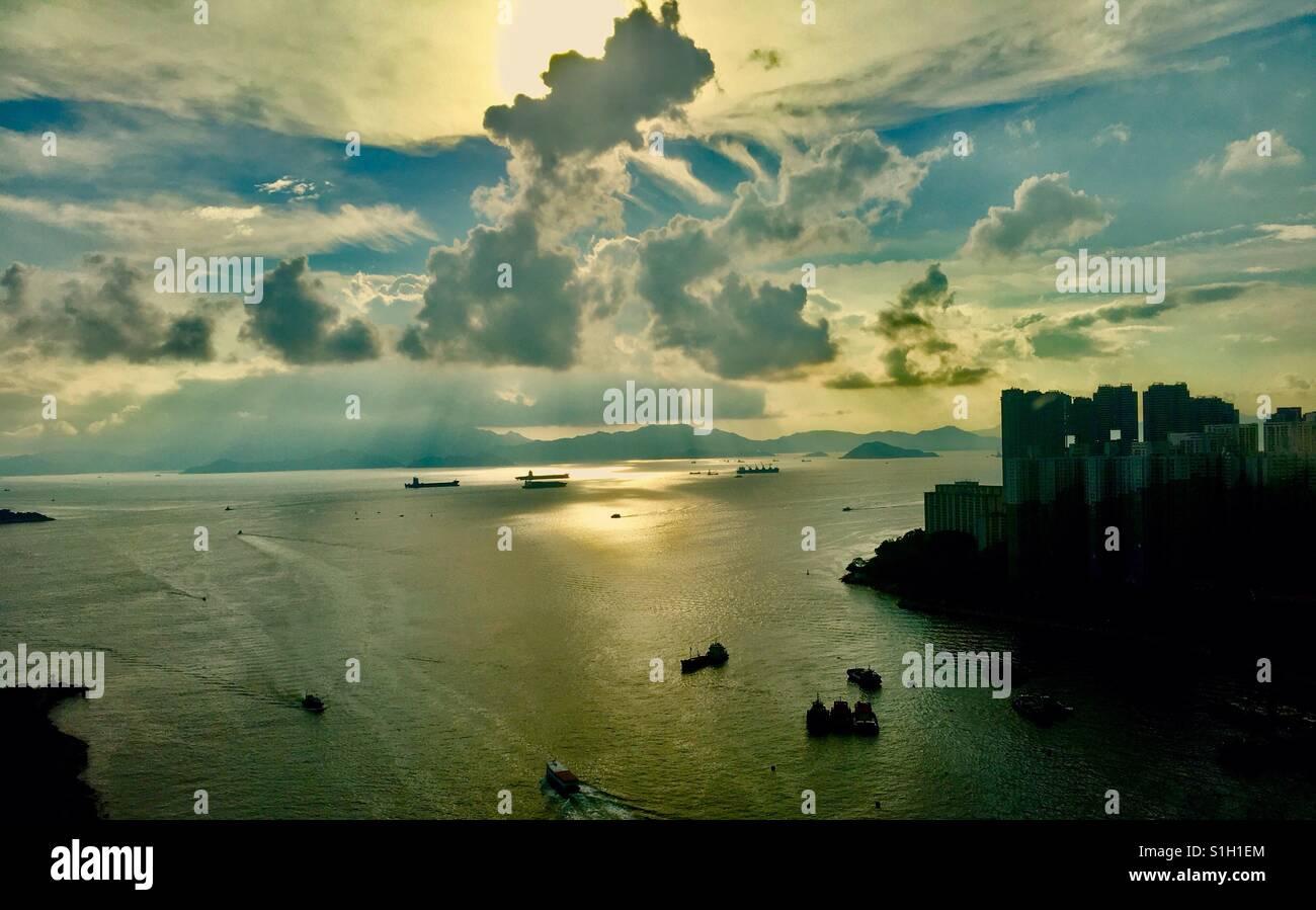 A beautiful sunset in Hong Kong. - Stock Image