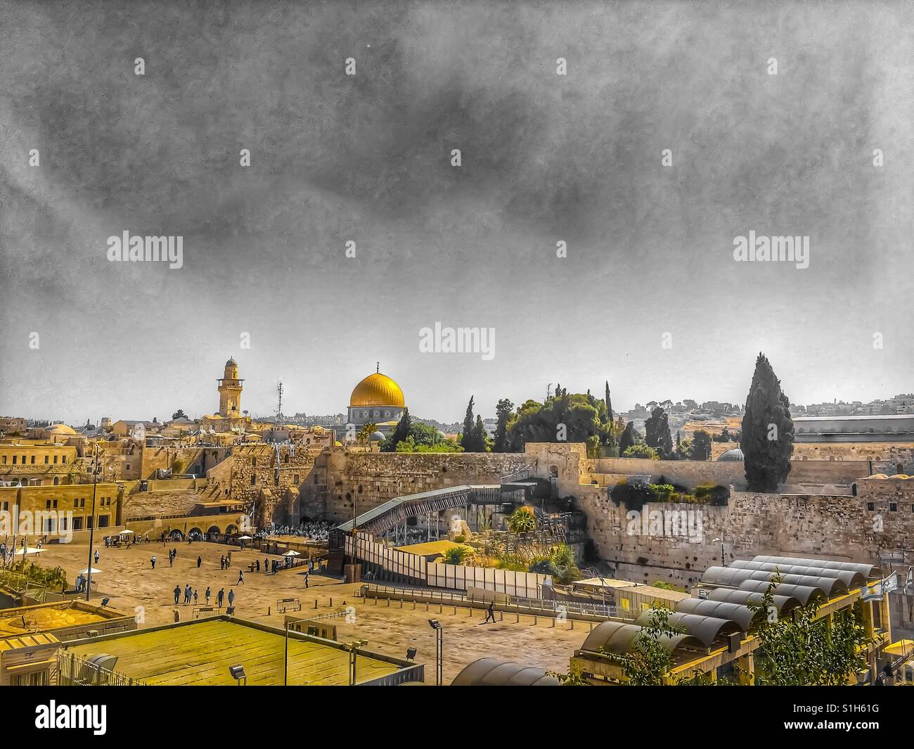 View of the Wailing Wall from above - Jerusalem, Israel 2017 - Stock Image