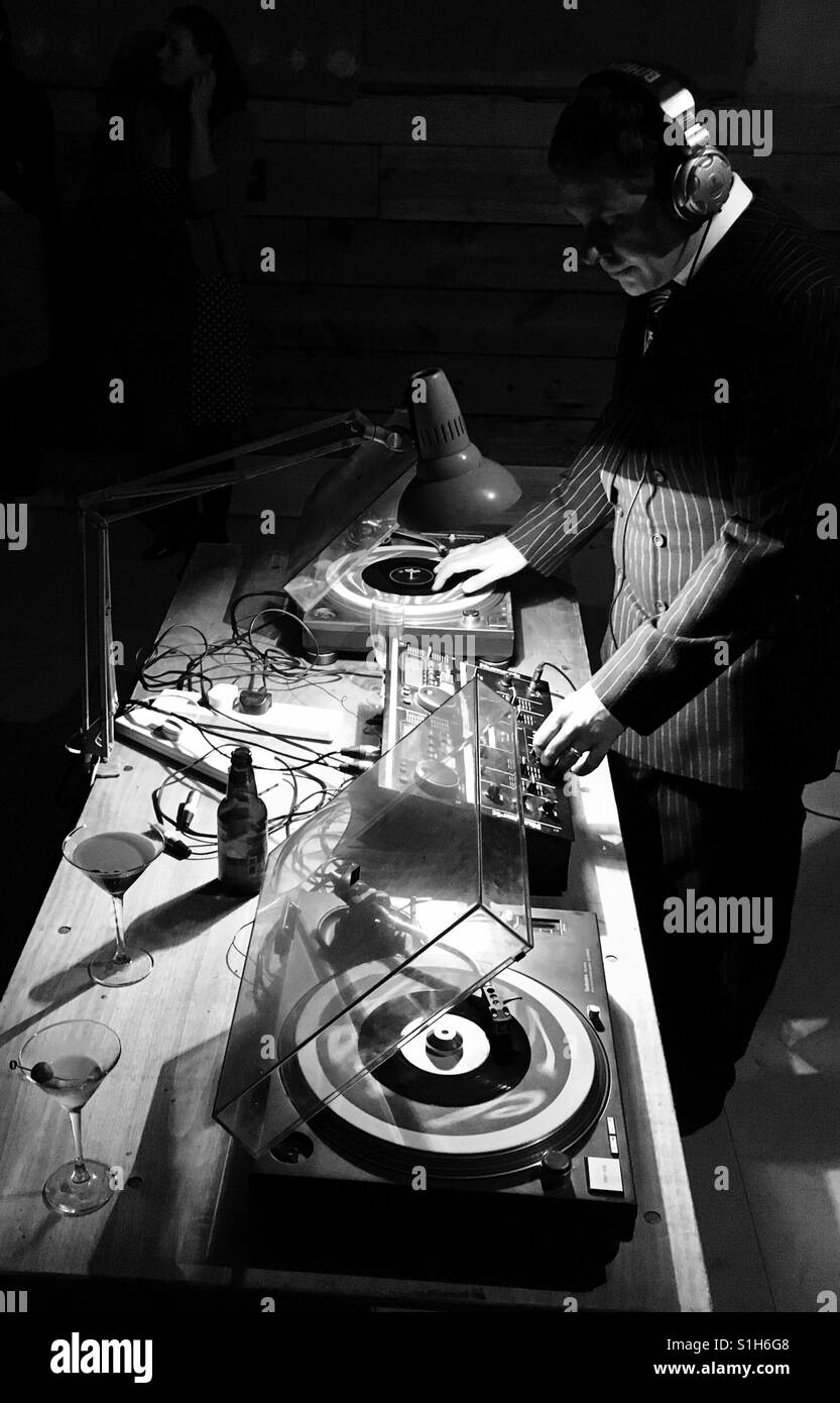DJ playing at party - Stock Image