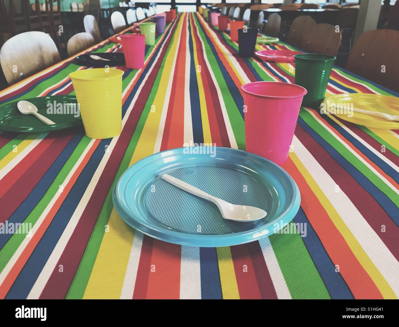 The birthday party table - Stock Image