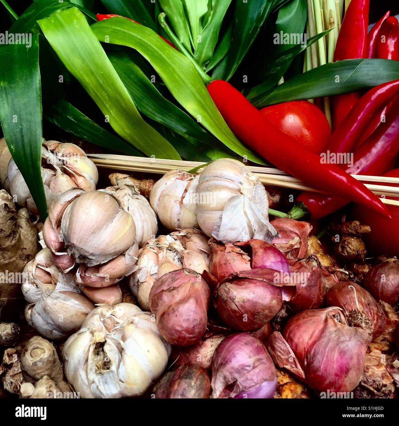 Fresh market vegetables Asian cooking essentials - Stock Image