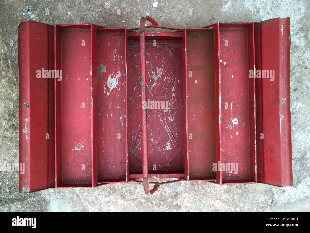 Empty toolbox. Old metal tool box with no tools. - Stock Image