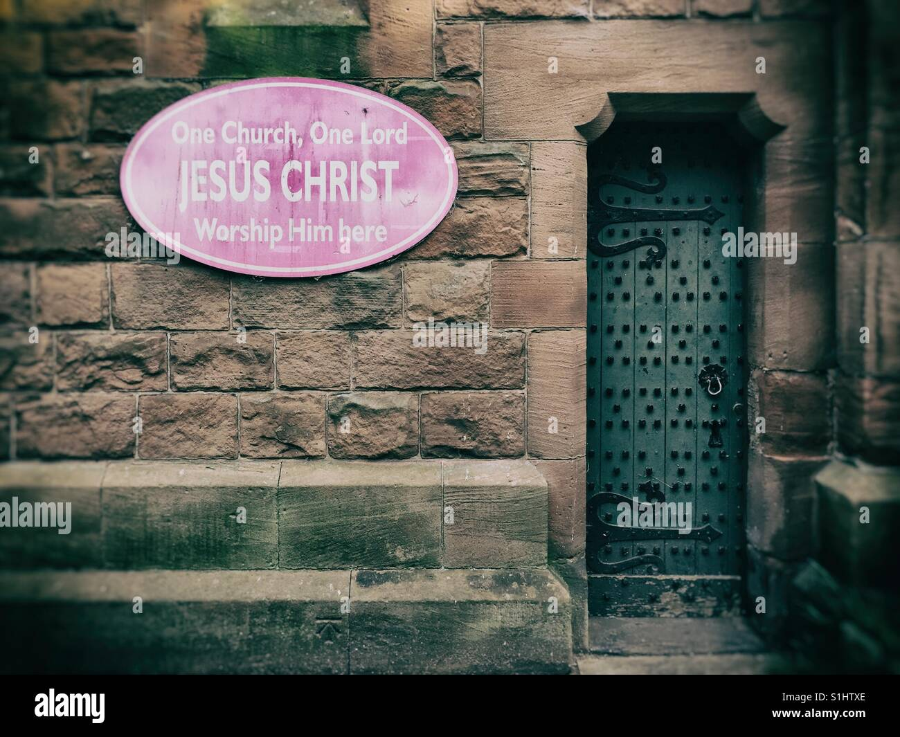 Side entrance of All Saints' Church in Runcorn, Cheshire, UK - Stock Image