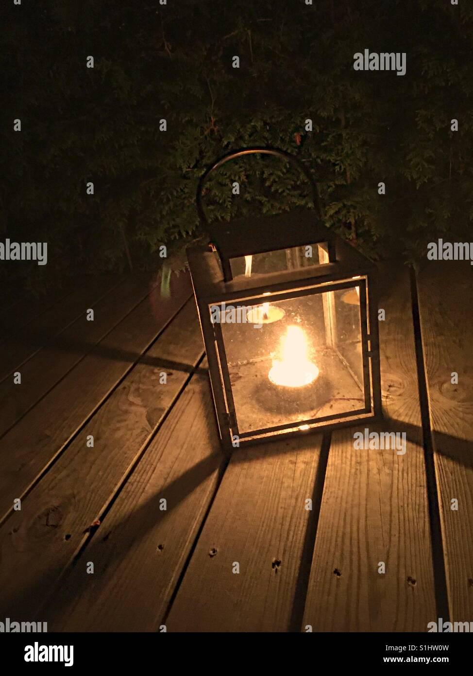 Cozy Garden lights in september - Stock Image