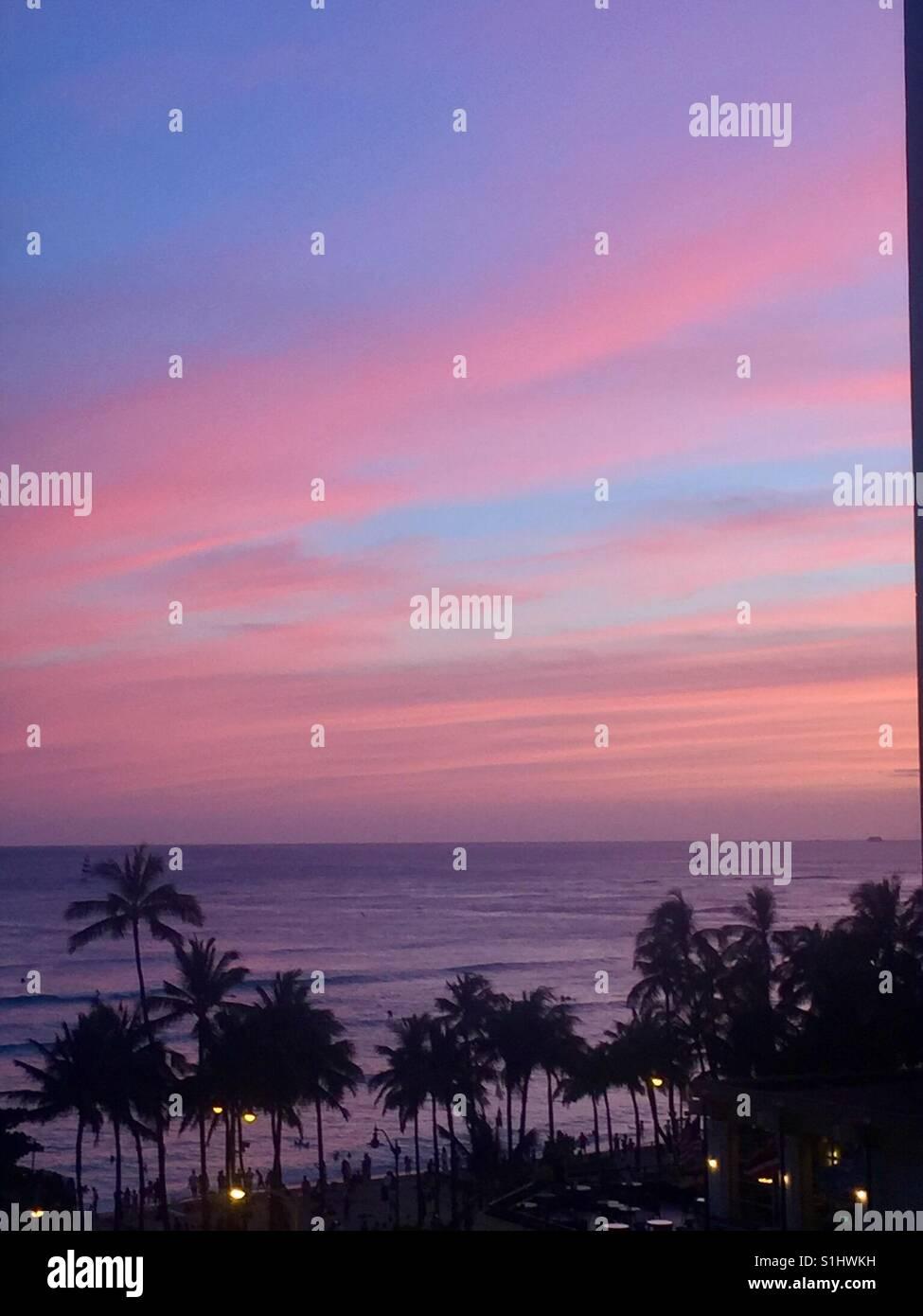 Sunset...Waikiki Beach, Honolulu, Oahu, Hawaii - Stock Image