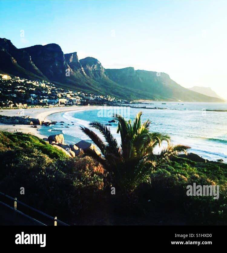 Where the ocean meets her soil and the twelve apostles are looking over her. Capetown sea side Stock Photo