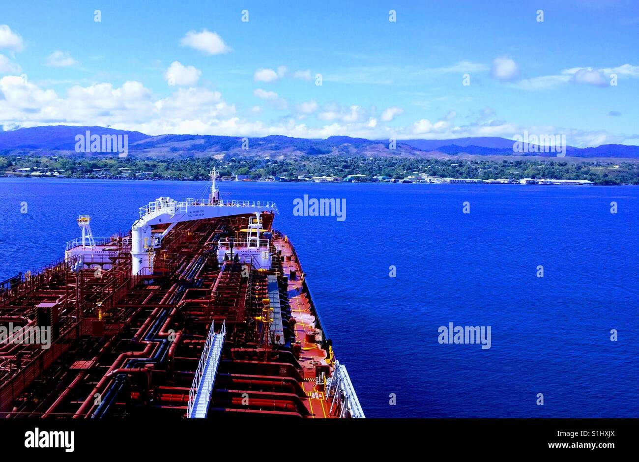 Honiara , Solomon Islands from anchorage - Stock Image