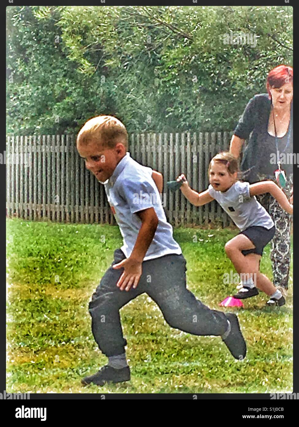 Bean Bag race at school Sports Day. - Stock Image