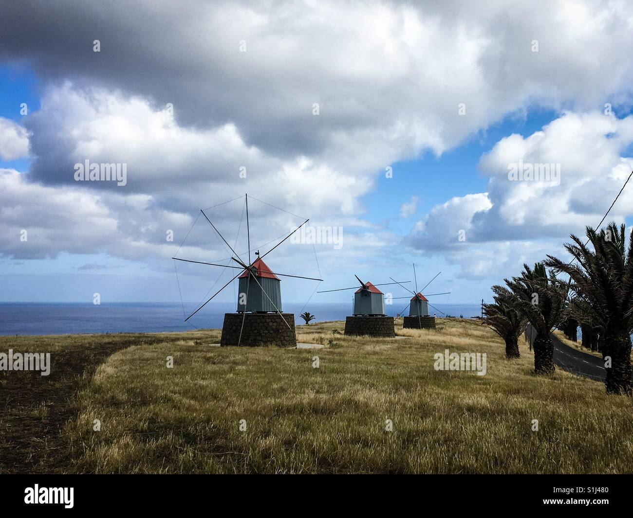 The windmill landscape of Porto Santo, Madeira, Portugal - Stock Image