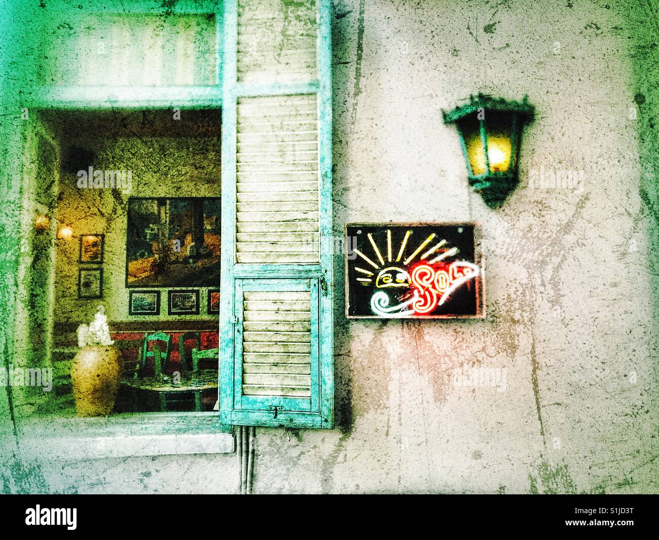 Cuban Restaurant Exterior Interior View In Thessaloniki Greece Stock Photo Alamy