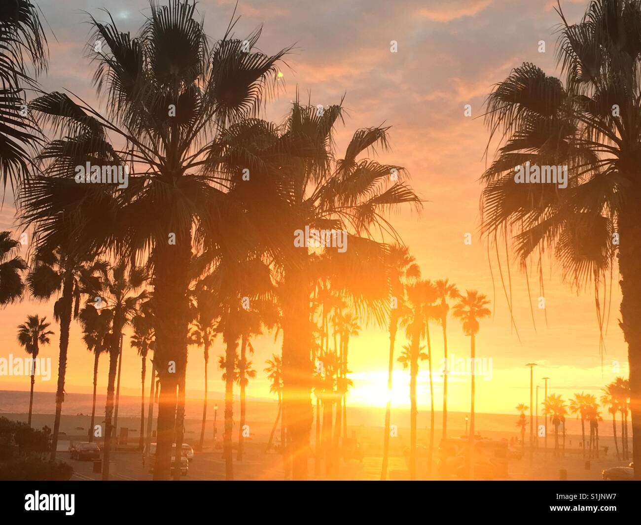 California Sunset In Huntington Beach Stock Photo Alamy
