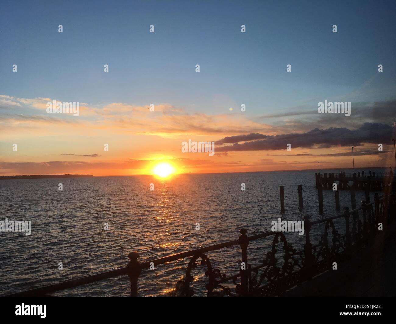 Ryde Pier Sunset - Stock Image
