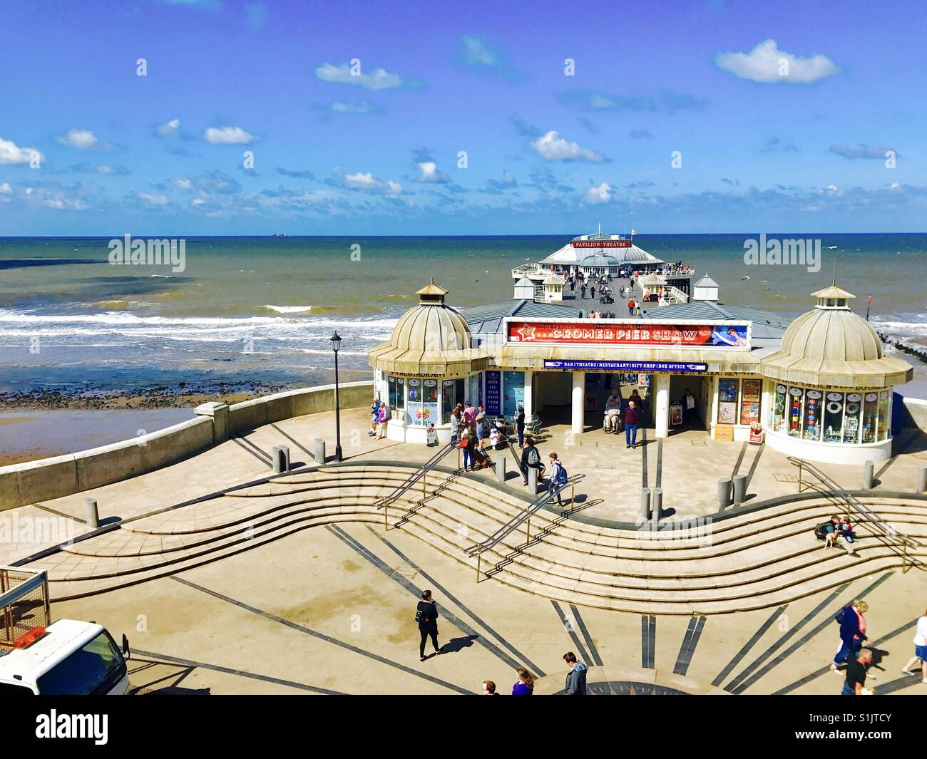 Cromer pier, Norfolk on a sunny day, Norfolk, U.K. - Stock Image