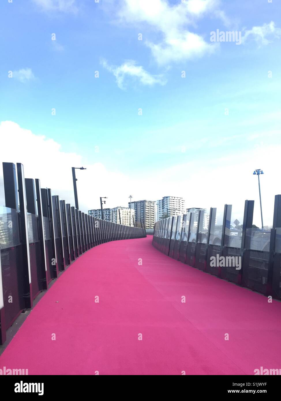 Pink road at Auckland CBD, New Zealand - Stock Image