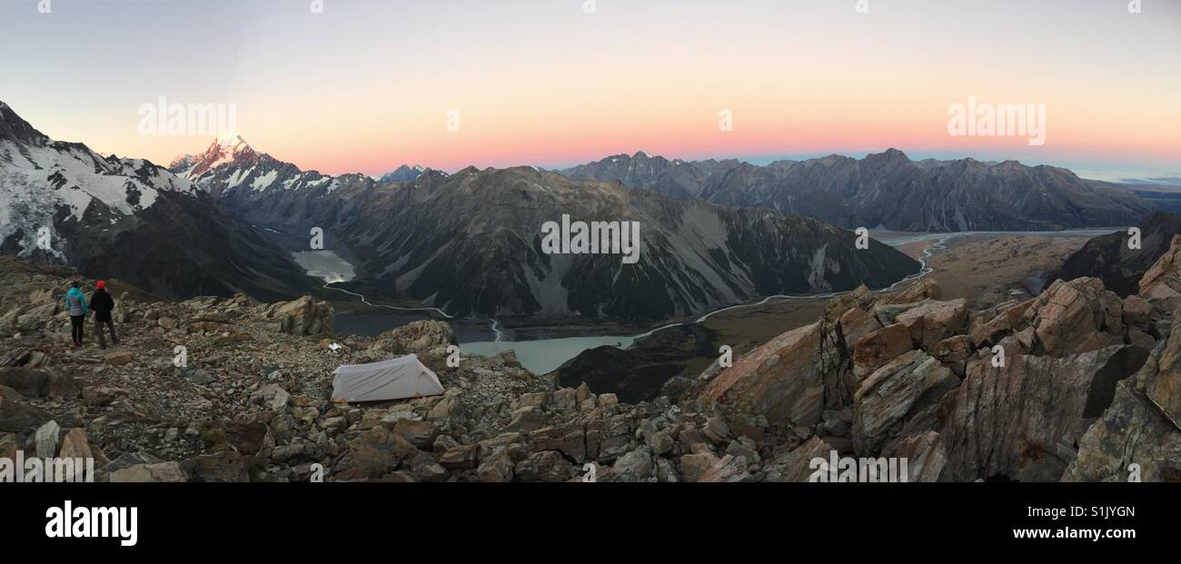 Sunset in Mt Cook National Park - Stock Image