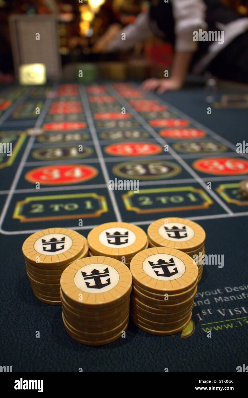 Roulette on the Royal Caribbean Navigator of the Seas... we like cruise chips! - Stock Image