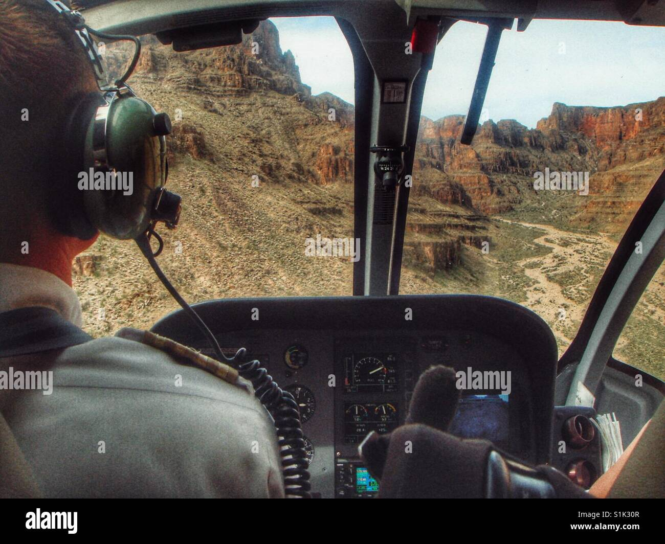 View of the Grand Canyon as seen from inside a helicopter - Stock Image