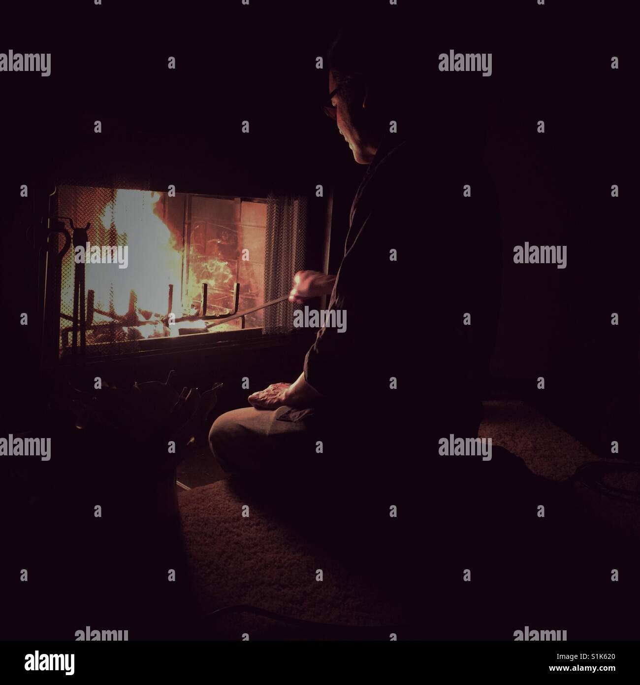 Fireplace evening - Stock Image