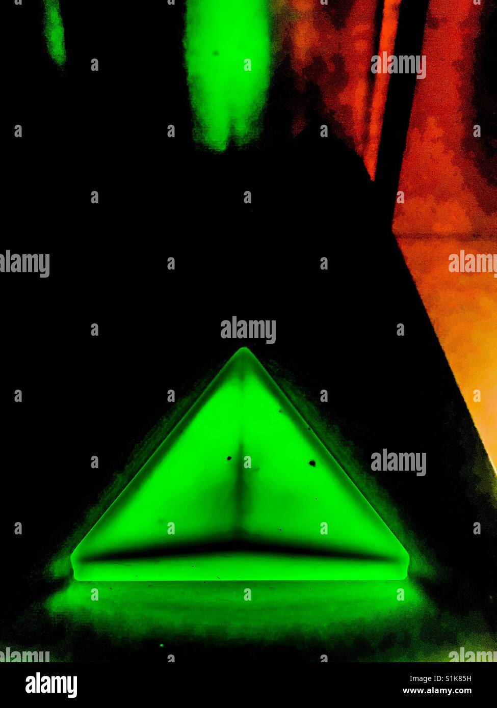 Neon up arrow - Stock Image