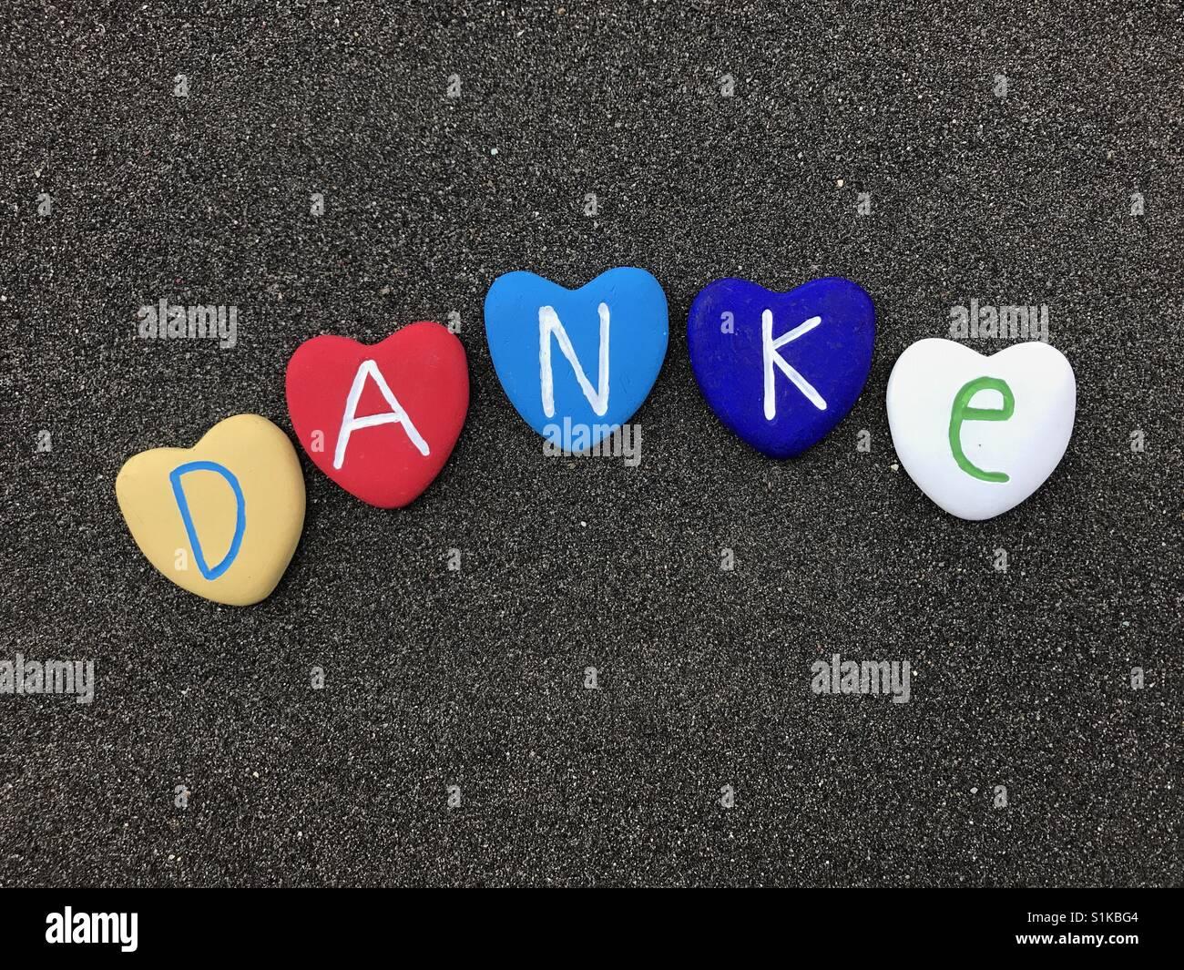 Danke, Thank you in german language Stock Photo