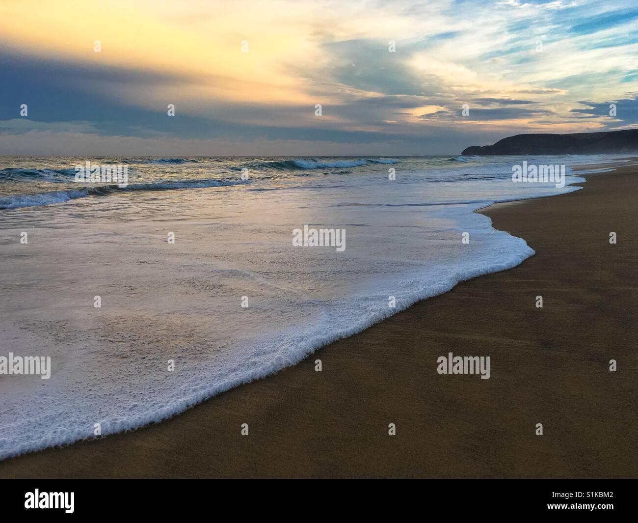 Sunrise on Porto Santo beach, Portugal - Stock Image