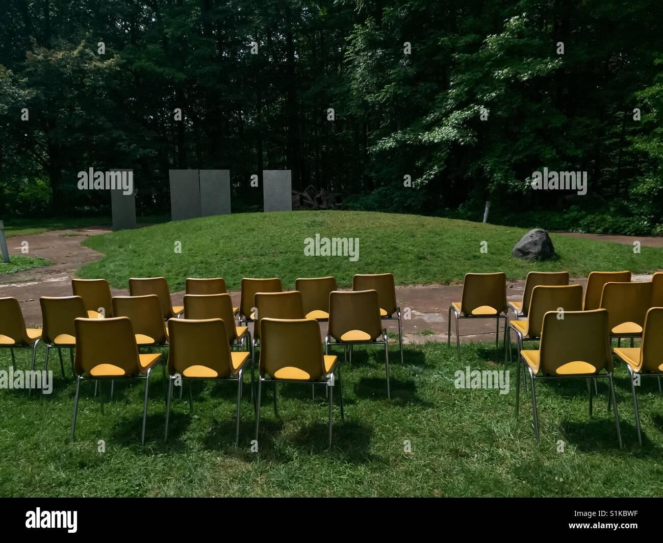 Outdoor gathering set up - Stock Image