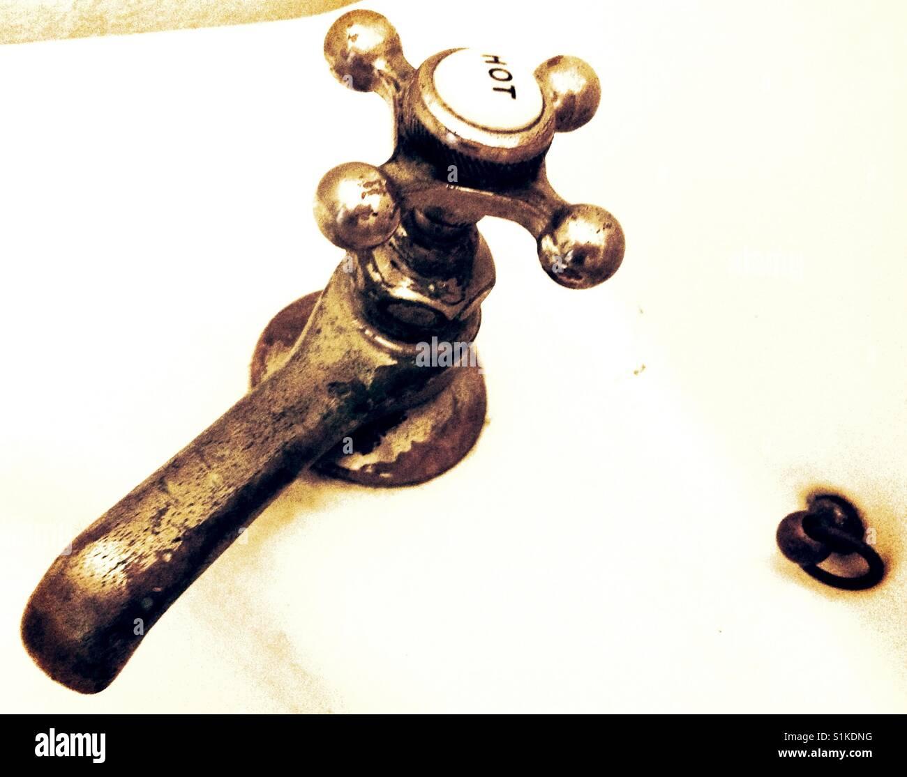 Hot water spigot- North Carolina - Stock Image