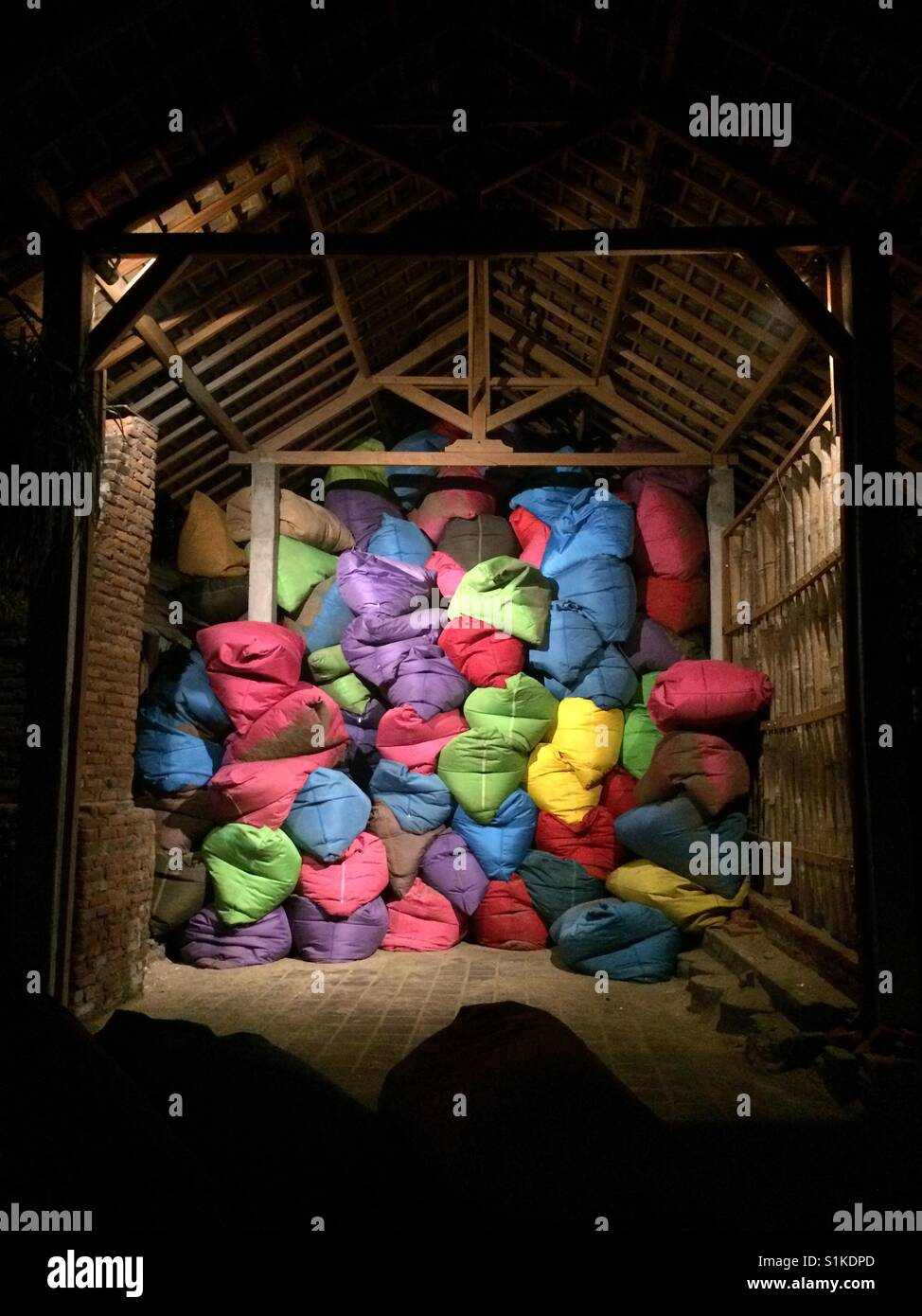 Colorful beanbags - Stock Image
