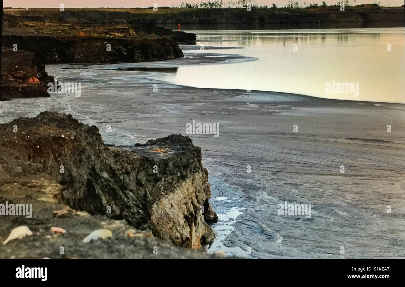Tar sands, Fort McMurray,Sludge pond - Stock Image
