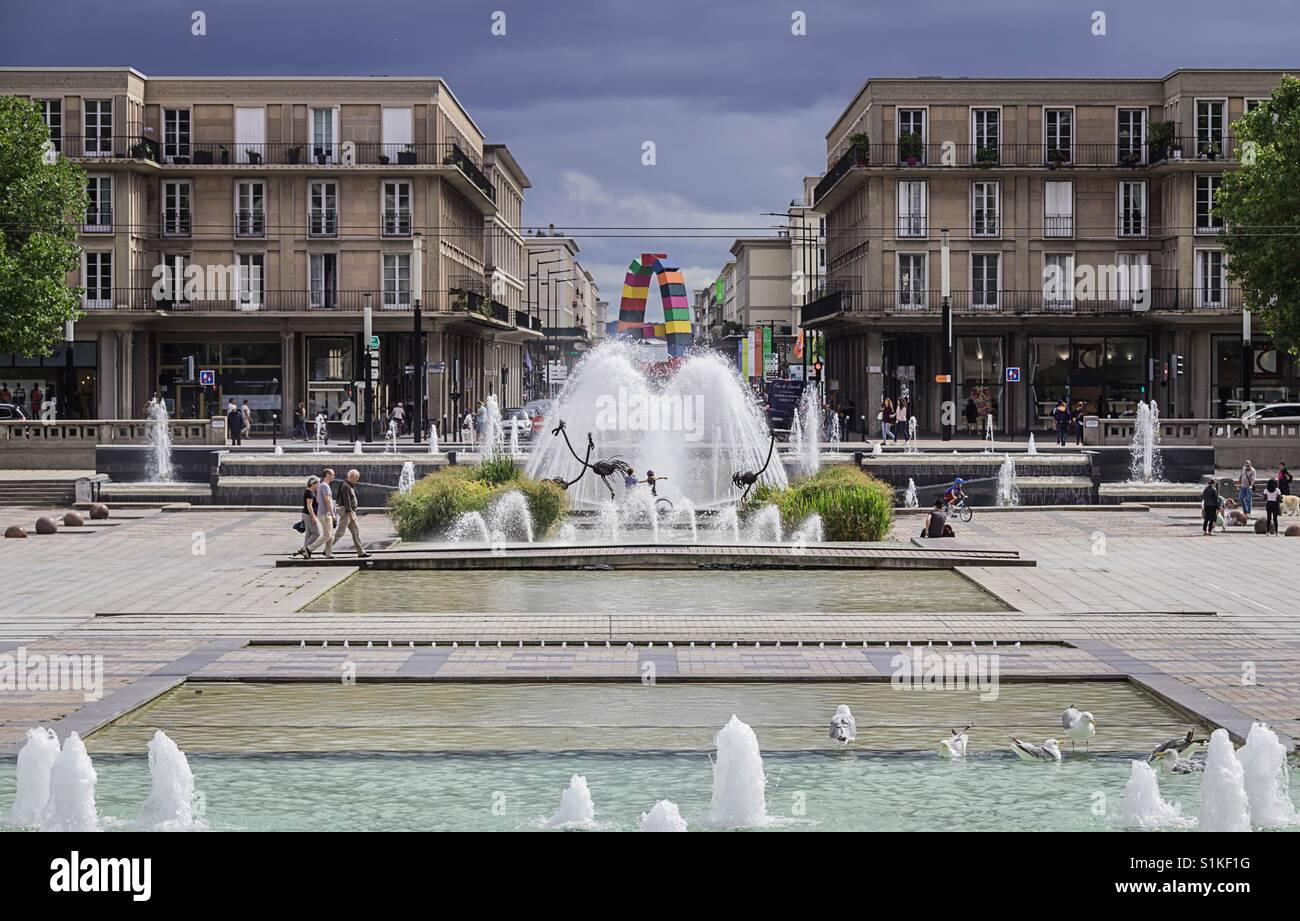 Place De L'Hotel De Ville, Le Havre, France - Stock Image