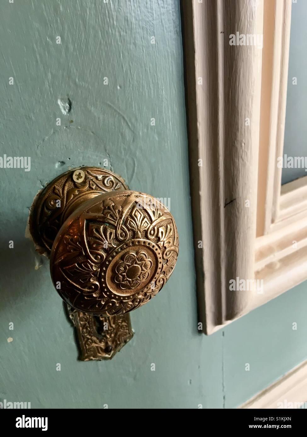 Antique door knob - Stock Image