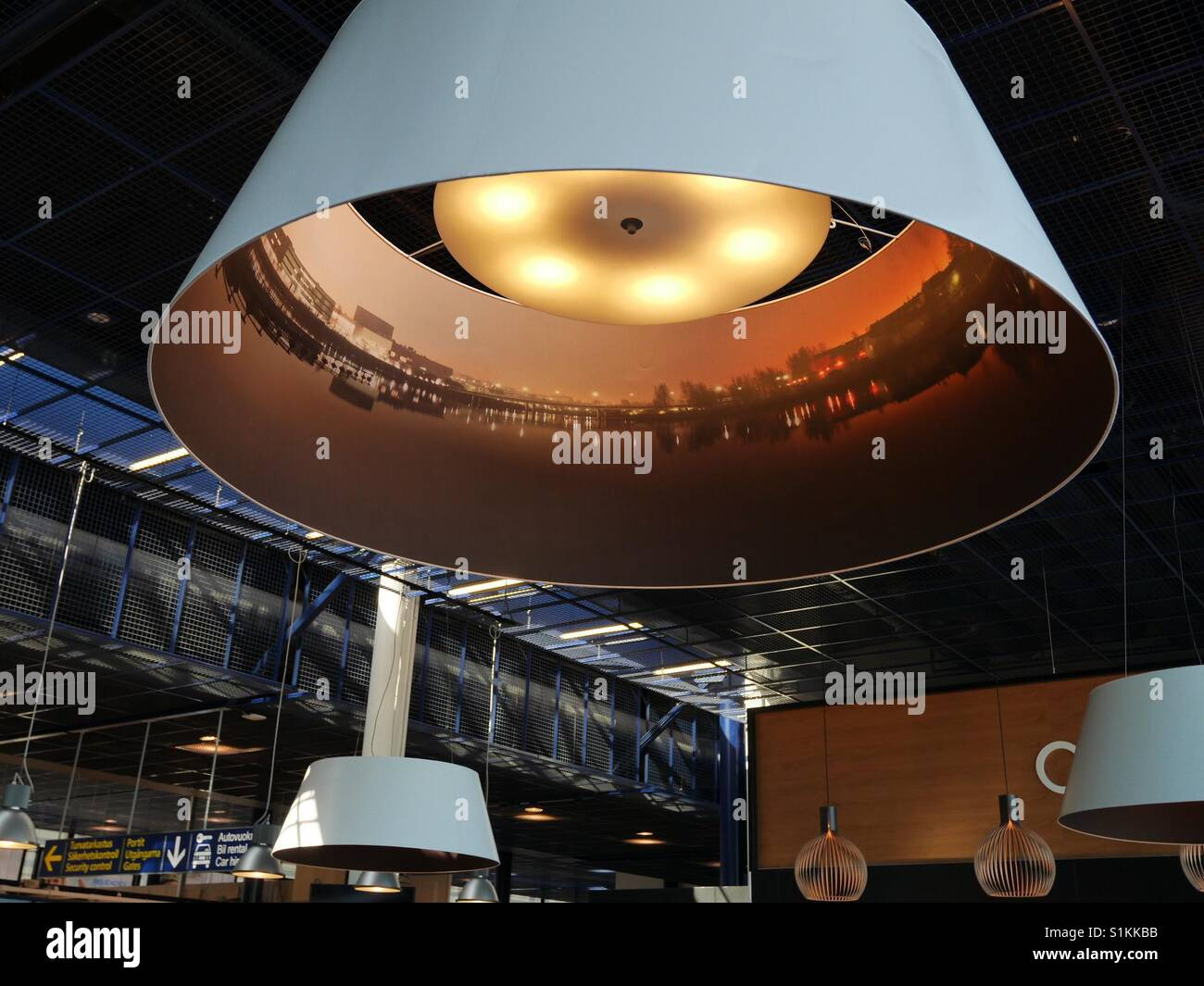 Lampshade at Oulu Finland airport shows panoramic view of Oulu - Stock Image