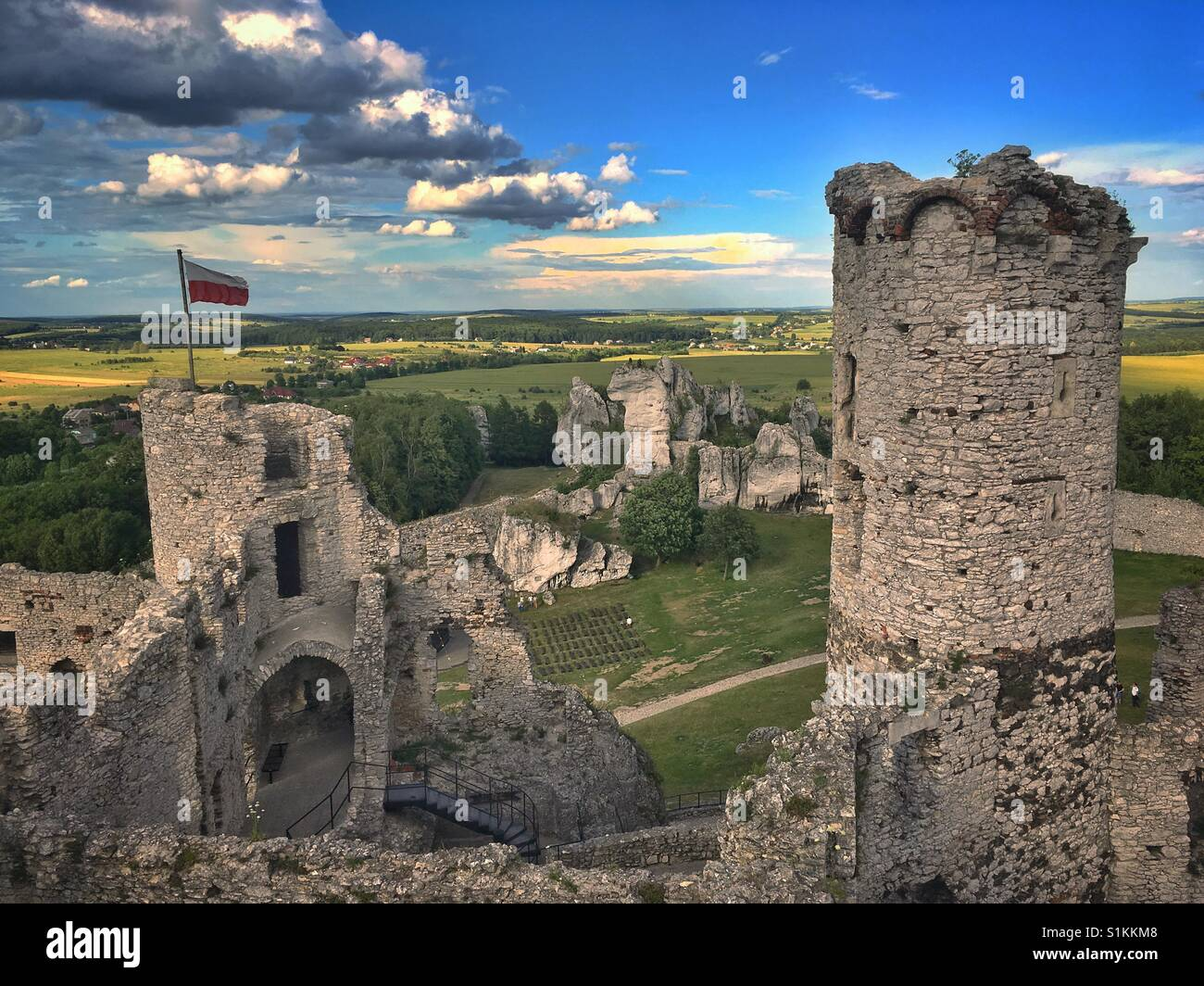 Ogrodzieniec Castle ruins, one of castles of so called Trail of the Eagles Nests, in Podzamcze village in Poland Stock Photo