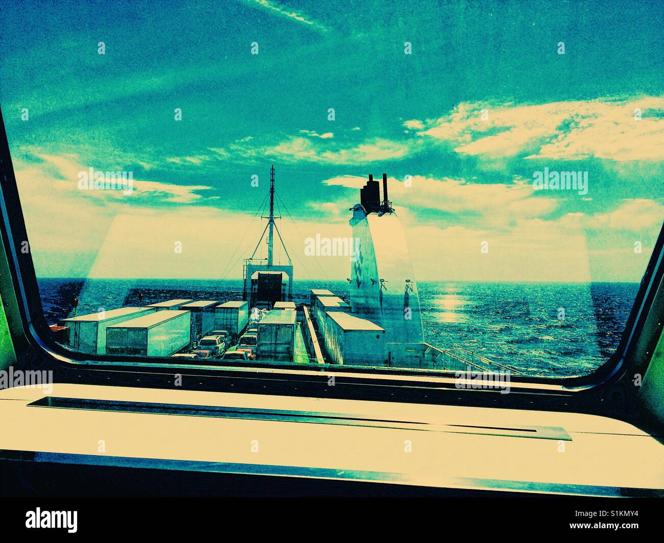 View through window on ferry across the Cabot Strait from Nova Scotia to Newfoundland, Canada Stock Photo
