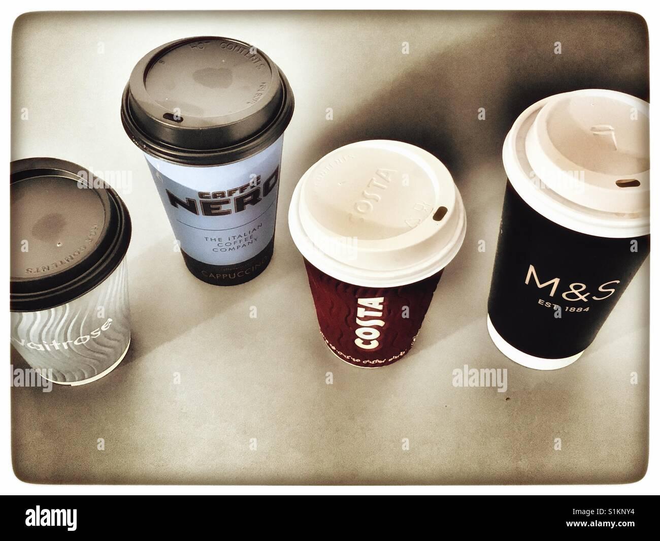 Take away coffee cups - Stock Image