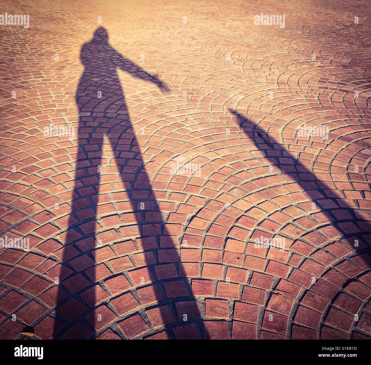 Shadows person and object reaching toward each other - Stock Image