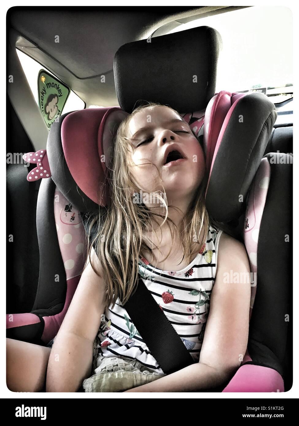 Five Year Old Girl Asleep In Car Seat