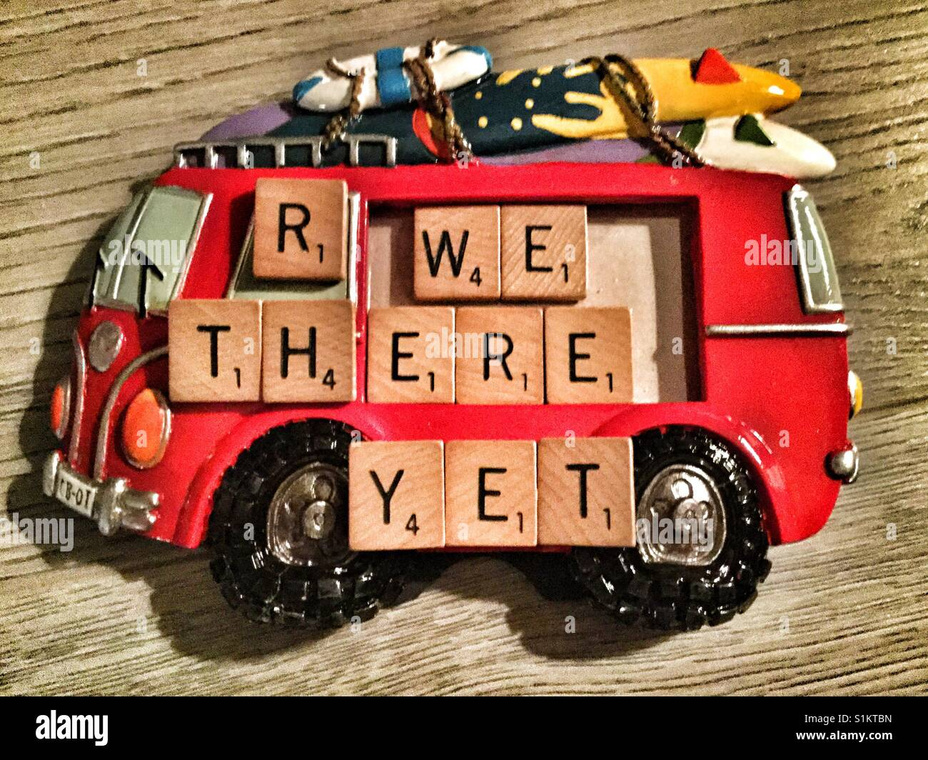 Are we there yet, written on a VW van picture frame. - Stock Image